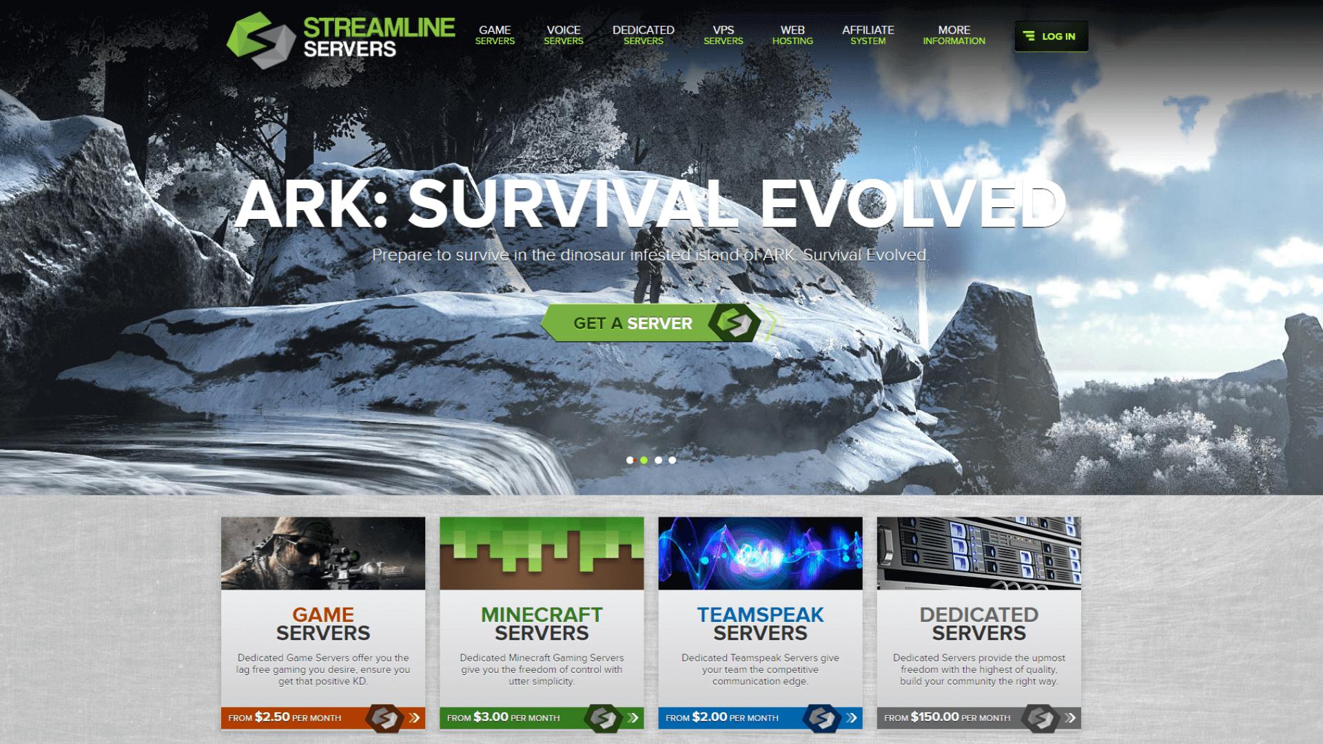 streamline servers website screenshot